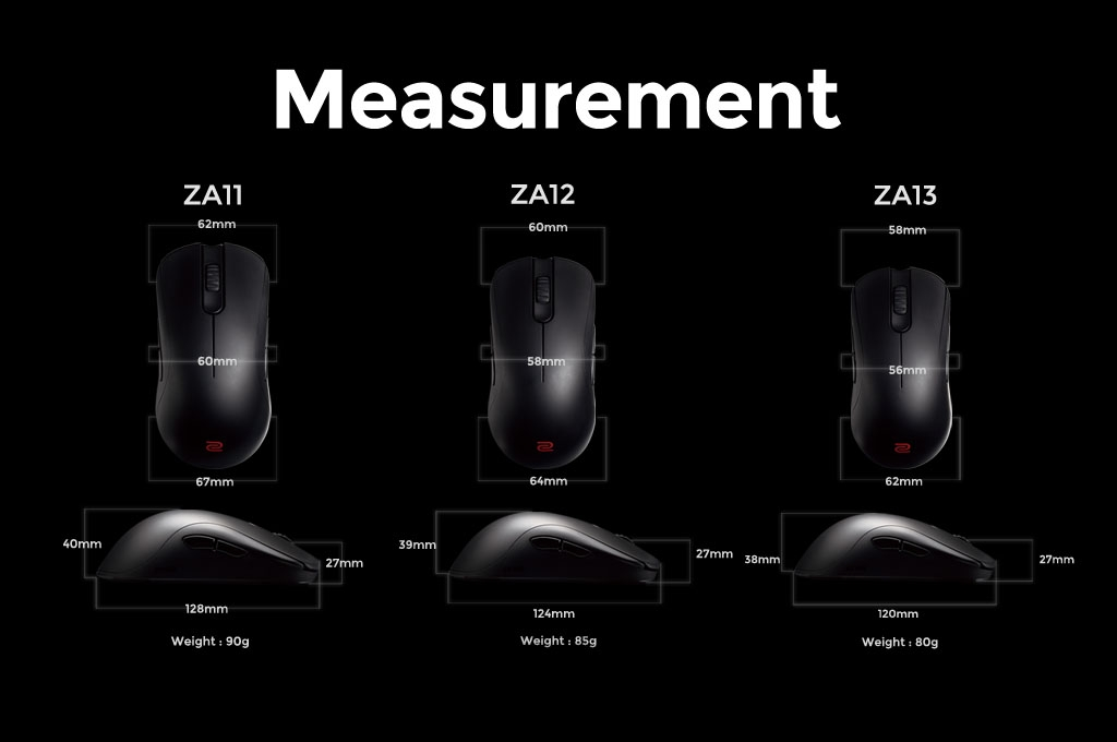 ZOWIE ZA Size Chart